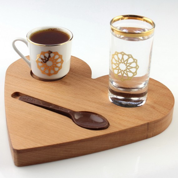 Wooden Heart Coffee Tray 20cm