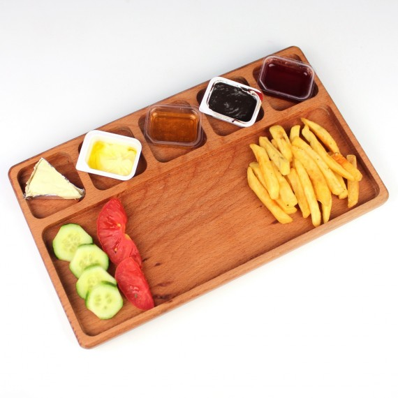 Wood 6-compartment Breakfast 32.3x19cm Beech