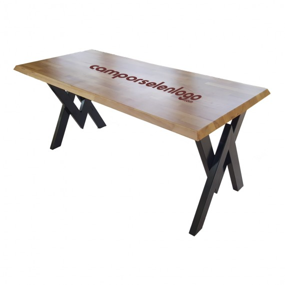 Logo Printed Wooden Beech Solid Table