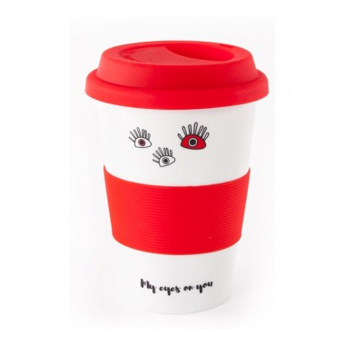 Covered Red Ceramic Cup