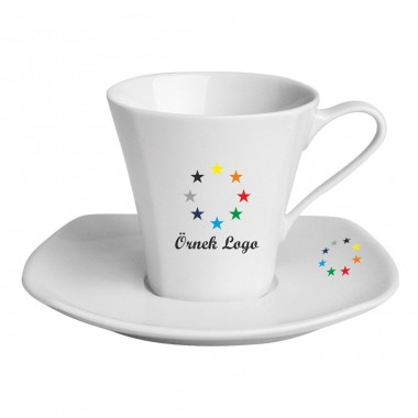 Logo Printed Square Tea / Nescafe Cups and Saucers