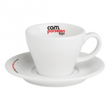 Logo Printed Bella Porcelain Tea / Nescafe Cups and Saucers