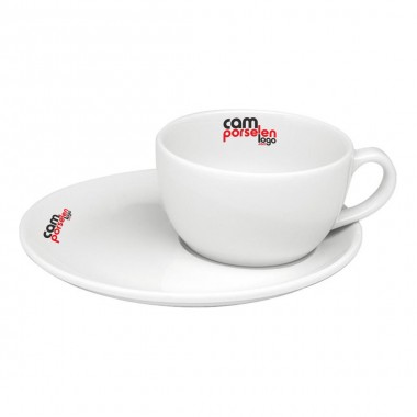 Logo Printed Soley Porcelain Tea Nescafe Cups and Saucers