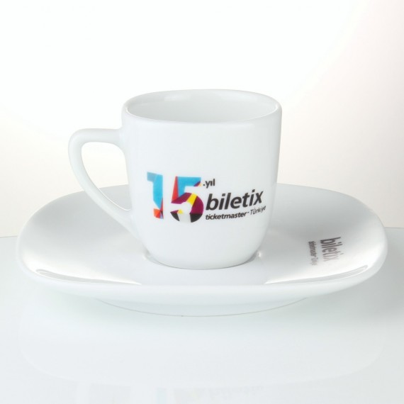 Logo Printed MimozaPorcelain Turkish Coffee Set