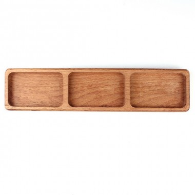 Wooden Multipurpose Presentation 3 Partition 35X8cm Beech
