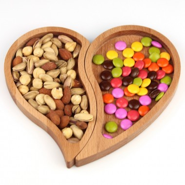 Wooden 3-Heart Heart Snack / Breakfast 27x11cm Beech
