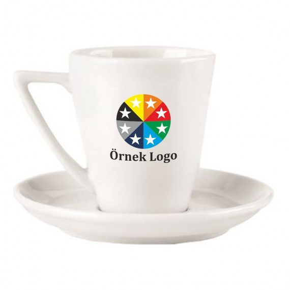 Logo Printed Soley Porcelain Espresso / Turkish Coffee Cups and Saucers