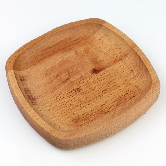 Wood Oval Square Plate No: 2 13x13 cm Beech