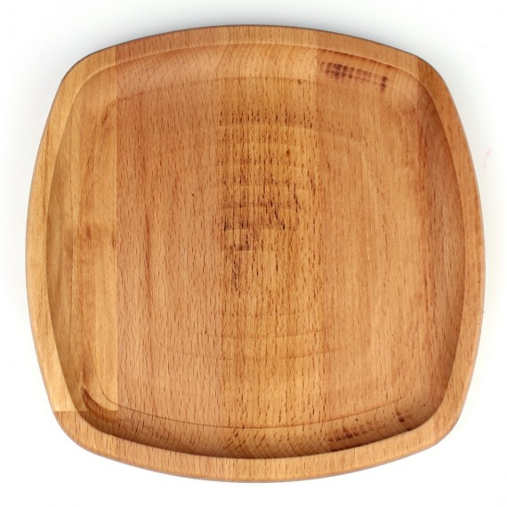 Wood Oval Square Plate No: 3 19x19cm Beech