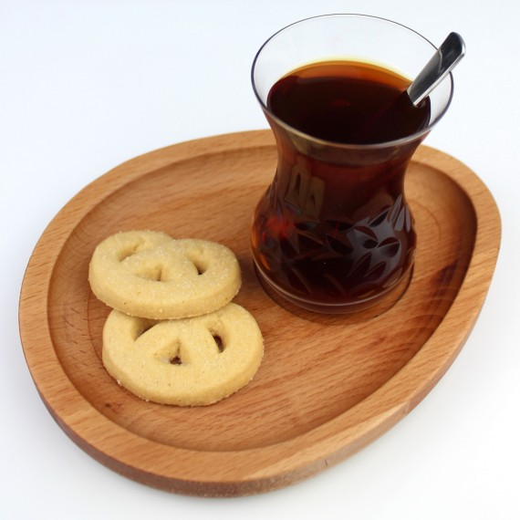 Wood Drip Tea Presentation Plate 19x15cm Beech