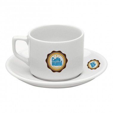 Logo Printed Lebon Porcelain Tea Nescafe Cups and Saucers