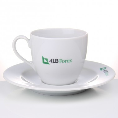 Logo Printed Porcelain Tea Cups and Saucers