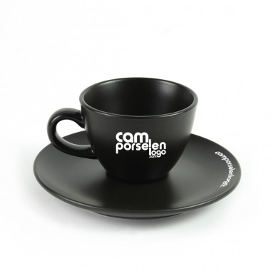 Logo Printed Matte Black Porcelain Porcelain Tea / Nescafe Cup Team