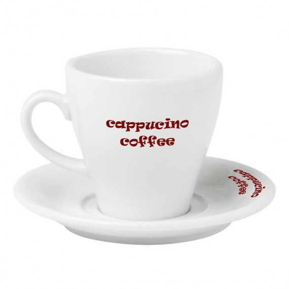 Logo Printed Porcelain Cappuccino Cup Set