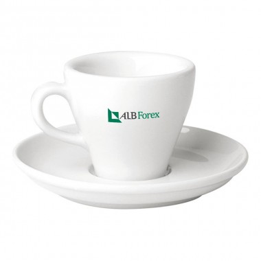 Logo Printed Porcelain Espresso Cup and Saucer