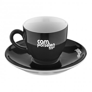 Logo Printed Black Porcelain Tea Cup Set