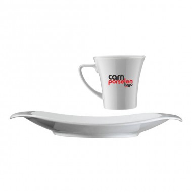 Logo Printed Porcelain Tea / Nescafe Cups and Saucers